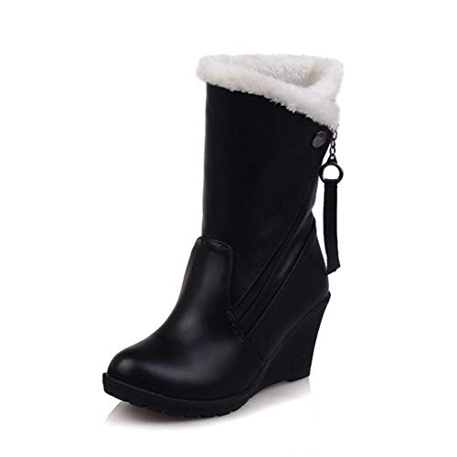 DETAIWIN Women Mid Calf Boots Wedge Round Toe Waterproof Slip-On Thickened Fur Warm Winter Snow Boots