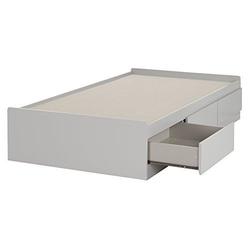 "South Shore 10578 39"" Cookie Mates Bed with 3 Drawers, Twin, Soft Gray"