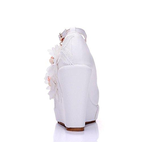 White Cinghia Le 4 Caviglia 5 Scarpe Cunei Dimensione uk 43 3 Tribunale 35 Eur Piattaforma Donne Nozze Sera Signore Nvxie Pompe Primavera Nuziale eur42uk85 36 Vestito Bianca O4S0ASY
