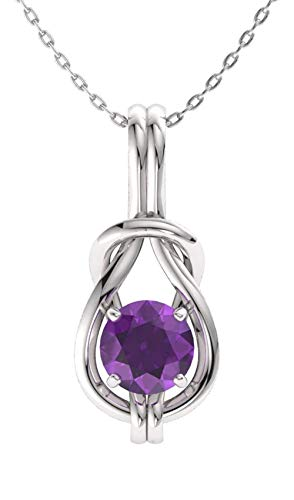Diamondere Natural and Certified Amethyst Infinity Knot Solitaire Necklace in 14k White Gold | 0.42 Carat Pendant with ()