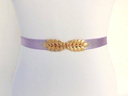 Light Purple Elastic Waist Belt. Gold Leaf Buckle. Bridal, Bridesmaid Sash. Stretch Dress Belt.