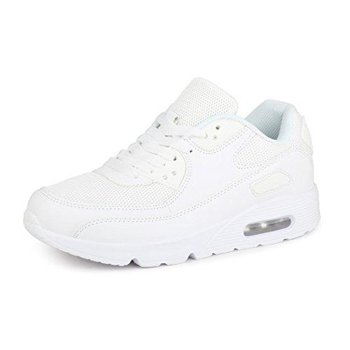 best-boots Unisex Damen Sneaker Fitness Laufschuhe Turnschuhe Runners Neu Weiß 4 (fällt kleiner aus)