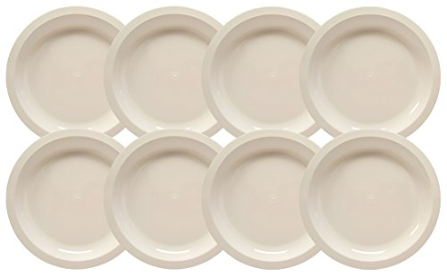 Set of 8 White Microwavable Plastic Plates - 10 Inch Black Duck Brand (Microwave Plastic Plates)