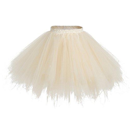 Champagne Women's 1950s Petticoat Slips Tulle Ballet Bubble Tutu Skirt,OneSize -
