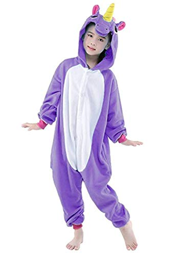 Halloween Cosplay Costume Unicorn Onesie Pajamas OnePiece Animal Outfit Homewear, Purple, Size140 for 53-59