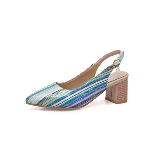 - T-JULY Women's Sandal Pointed Toe Ankle Wrap Buckle Strap Mixed Colors Thick High Heels Ladies Shoes Blue