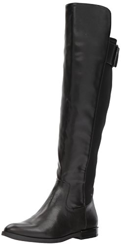 Calvin Klein Women's Priya Over The Knee Boot, Black Leather/Stretch, 7.5 Medium US