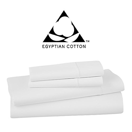 Vivendi 1000 Thread Count Egyptian Cotton 4 Piece Sheet Set, King, White by Vivendi