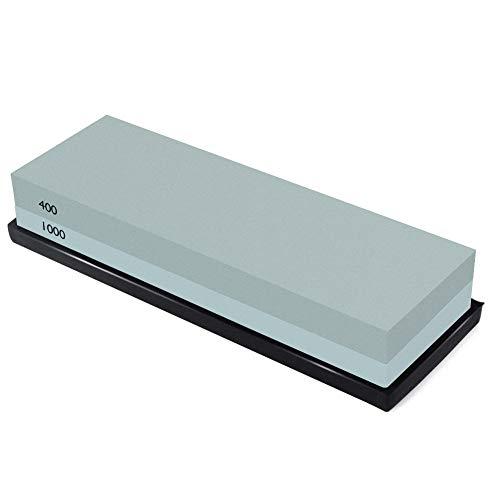 Knife Sharpening Stone Combination Dual Sided Grit With Base for Sharpening and Polishing Tool with Non Slip Base for Kitchen Knives, Hunting Knives, Pocket Knives and Tool Blades (400/1000)