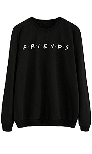 LHAYY Friends Women's Casual Loose Top Cotton Friends Letters Print Pullover Sweatshirt