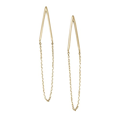 14 Gold-Flashed Sterling Silver Post Back Double Bar Chain Drop Earrings Drops 2.5 Inch