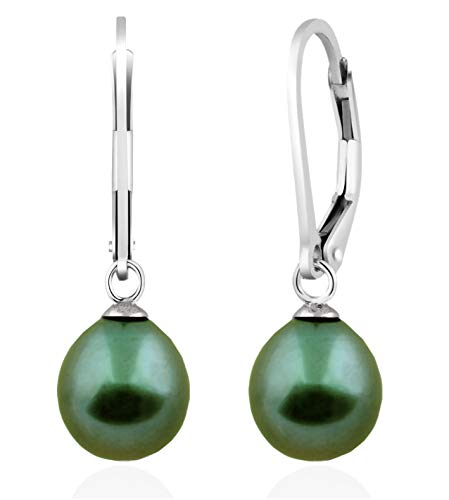 Handpicked AA 7.5-8mm Freshwater Cultured Pearls Dangle Drop 925 Silver Lever-back Earrings (Green) ()