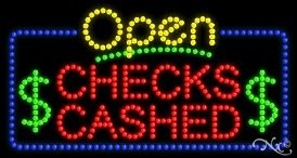 Led Sign Checks Cashed (Checks Cashed Open LED Sign (High Impact, Energy Efficient))