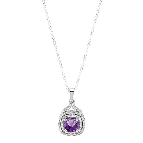 18k White Gold Amethyst Pendant (18K White Gold 7 MM Cushion Amethyst & Round Diamond Ladies Halo Pendant (Silver Chain Included))