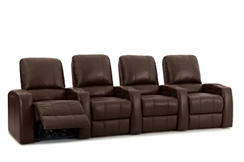 Cheap Storm XL850 Theater Recliners – Brown Premium Leather – Power Recline – Straight Row of 4 Chairs