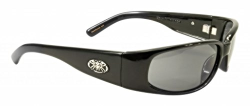 Black Flys Micro Fly Sunglasses (Black Flys Men's Micro Fly 2 Shiny Black Frame / Grey Lens Oval 59 mm Sunglasses)