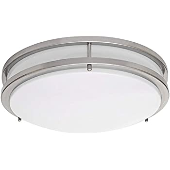 Lb72122 led flush mount ceiling light 16 inch antique brushed nickel 23w