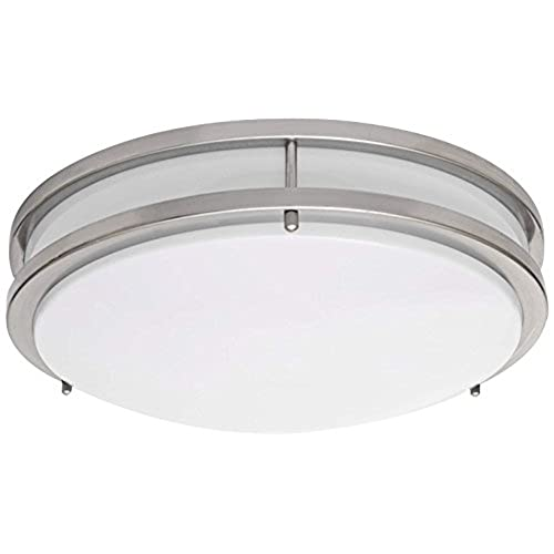 Charmant LB72122 LED Flush Mount Ceiling Light, 16 Inch, Antique Brushed Nickel, 23W  (180W Equivalent) 1610 Lumens 3000K Warm White, ETL U0026 DLC Listed, ENERGY  STAR, ...
