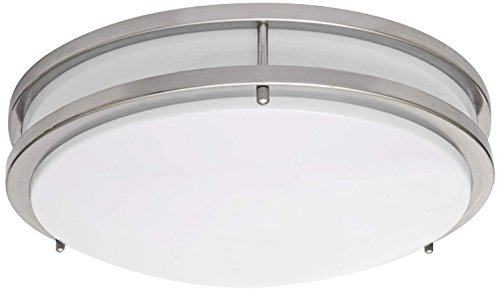 (LB72123 LED Flush Mount Ceiling Light, 16-Inch, Antique Brushed Nickel, 23W (180W equivalent) 1610 Lumens 4000K Cool White, ETL & DLC Listed, ENERGY STAR, Dimmable)