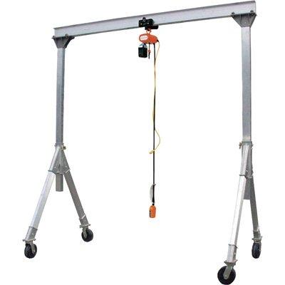 Vestil AHA-6-15-8 Aluminum Adjustable Gantry Crane, 6000 lb. Capacity, 15' Overall Beam, 96'' Usable Trolley Travel Distance, Under I-Beam Range 74''-96'', 110'' Height