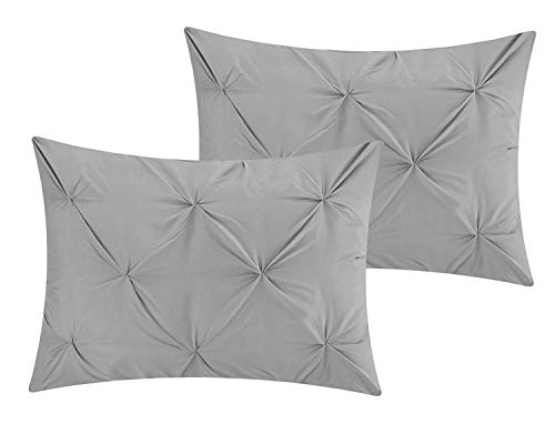 Cotton Metrics Linen Present Exclusive 100/% Egyptian Cotton 600TC 2pc Pillow Shams Pinch Pleated Pintuck Decorative 20 x 30 Inch Soft and Hypoallergenic , Silver Grey Queen//Full Size
