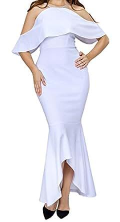 YeeATZ Women White Ruffled Sleeves High-low Hem Party Maxi Dress