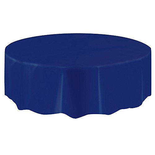 Round Navy Blue Plastic Tablecloth, 84