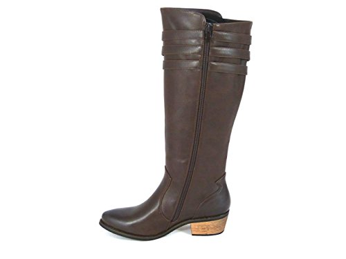 SKO'S Womens Ladies Block Heel Buckle Zip Knee High Riding Boots Shoes Size 3-8 Brown (13005) dXigux