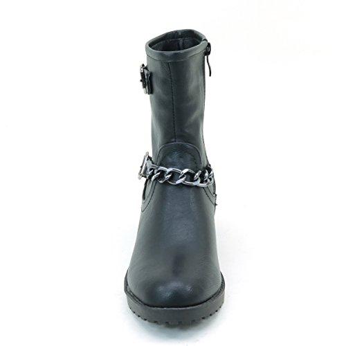 Brieten Womens Boots Black Flat Mimollet Nouveau Chain RSgnd