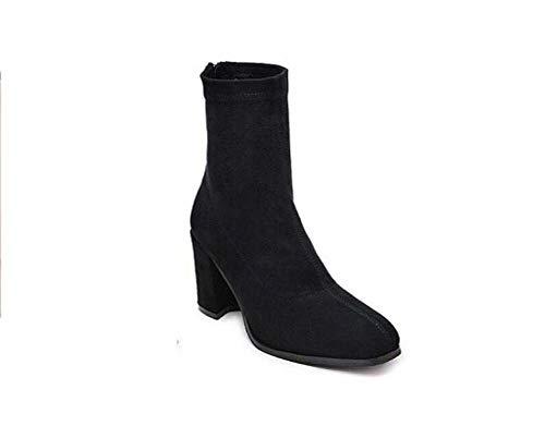 Botin Vestido Botín OL Botin Black Corte De Botas Grueso EU Zapatos 8Cm Tamaño Stretch Botas 39 Tacón 35 Nieve w0YcRxf