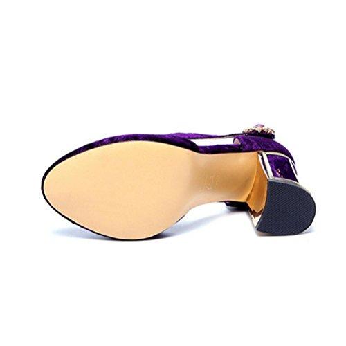 Baotou strass QPYC sandales profonde ronde boucle purple peu bouche rugueux avec chaussures hauts talons Femmes à tête dames femmes ZrXp8Z