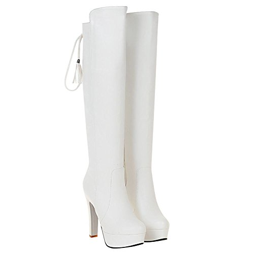 Mee Shoes Womens Sexy High-heel Knee-high Platform Boots White awVed8