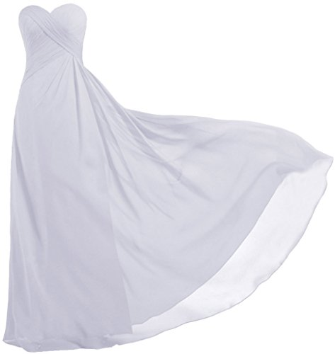 ANTS Women's Strapless Long Bridesmaid Dresses Chiffon Wedding Prom Gown Size 2 US White