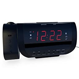 Edge Pro Alarm Clock Radio with Time Projection and USB Charger