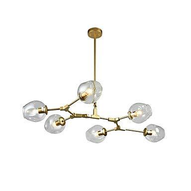 6-Light Chandelier Ambient Light Lackierte Oberflächen Metallglas Einstellbar 85-265V