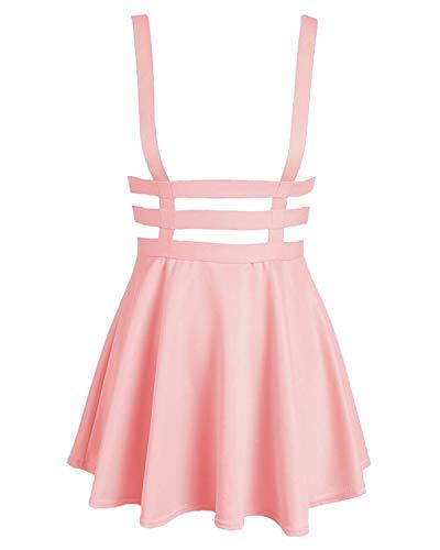 Bluetime Womens Pleated Short Braces Skirt (FBA) (M, Pink) from BLUETIME