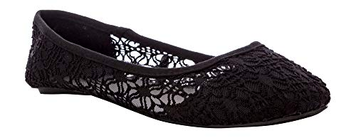 Charles Albert Women's Breathable Crochet Lace Ballet Flat in Black Size: 9