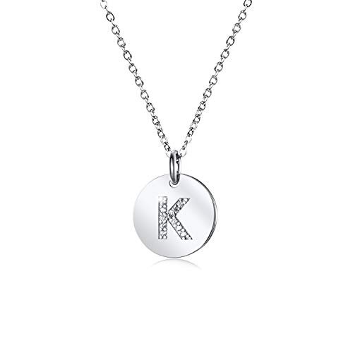 - Dainty Disc Initial Necklace S925 Sterling Silver Letters K Alphabet Pendant Necklace Birthday Gift for Girl