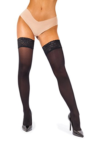 sofsy Lace Thigh High Stockings for Women - Hold Up Nylon Pantyhose 60 Den [Made in Italy]