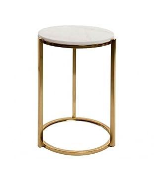 Tisch AUX Runder Wohnzimmer aus Metall gold und Tablett aus Marmor ...