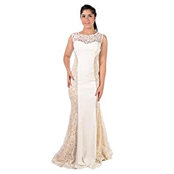 Dekelte Off White Mixed Special Occasion Dress For Women