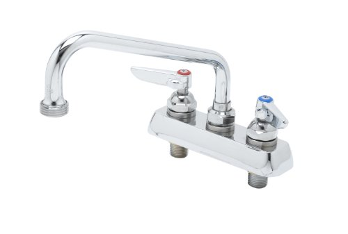 T&S Brass B-2491 Workboard Faucet, Deck Mount, 4-Inch Centers, 8-Inch Swing Nozzle, Garden Hose Tip, Lever Handles