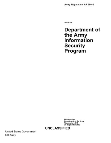 Download Army Regulation AR 380-5  Department of the Army Information Security Program pdf epub
