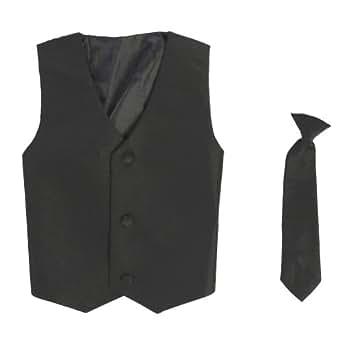 Vest and Clip On Baby Boy Necktie set - BLACK - S/M (0-12 Months)