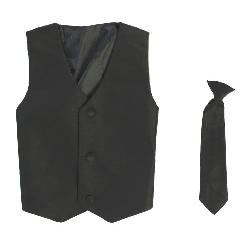 Vest and Clip On Boy Necktie set - BLACK - 8/10 (Kids Black Dresses)