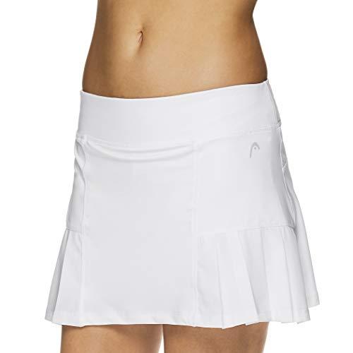 HEAD Women's Athletic Tennis Skort - Performance Training & Running Skirt - Pleated Stark White Snow, Medium