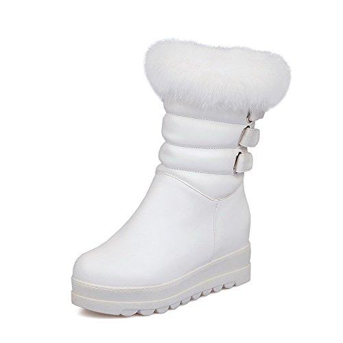 AllhqFashion Mujeres Puntera Redonda Cuña Plataforma Sólido Sin cordones Botas con Metal Blanco