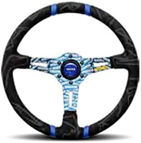 MOMO Street Steering Wheel Premium Race Track Microfiber Grip w//Blue Dual Center Stripes /& Blue MOMO Etched Spokes Ultra Part # ULT35BK0BU
