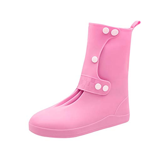 Fiaya Rain Shoes Boots Covers Hot Anti-Slip Reusable Latex Shoe Covers Over Shoes Galoshes Travel for Men Women Kids (S:US:4.5-5, Pink)