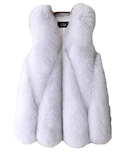 Femmes Sans Blanc Chaud Manches Gilet Manteaux Quge Outwear Élégante Fourrure Synthétique Vestes AxRwIq4d